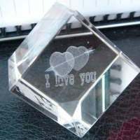I Love You Glass Cube